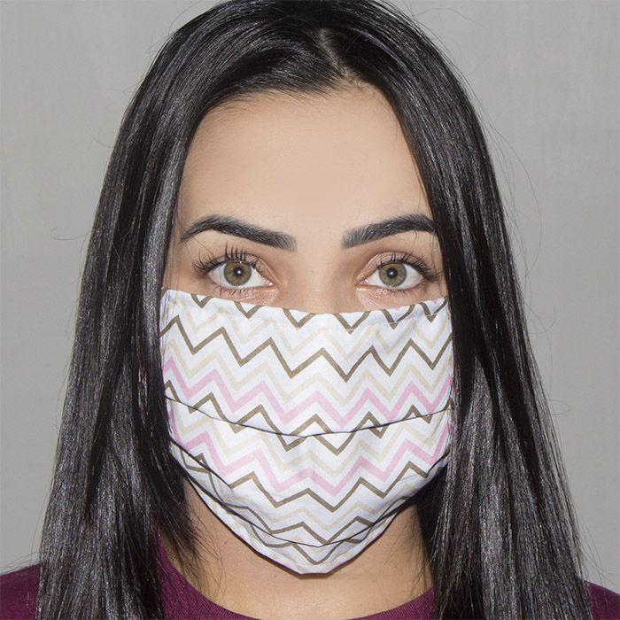 Jogo de Máscara Protetora 07 pçs - Chevron Rosa