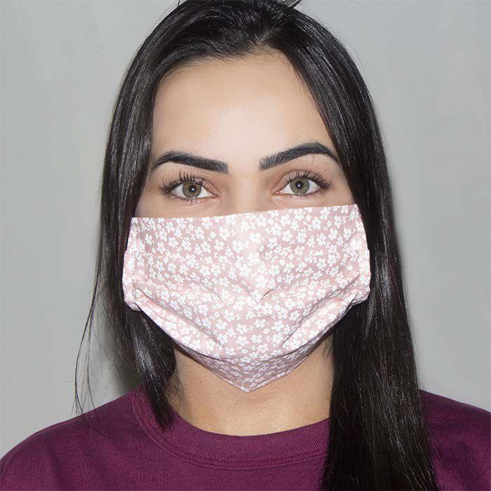 Jogo de Máscara Protetora 07 pçs - Floral Salmão