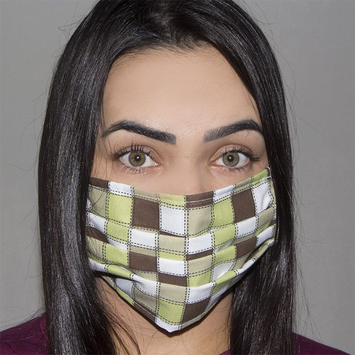 Jogo de Máscara Protetora 07 pçs - Xadrez Verde