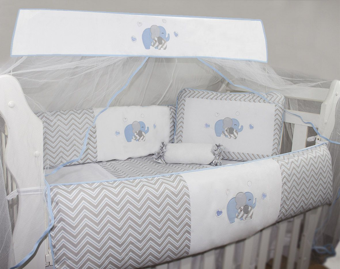 Kit Glamour 10 Pçs - Elefante Chevron Azul