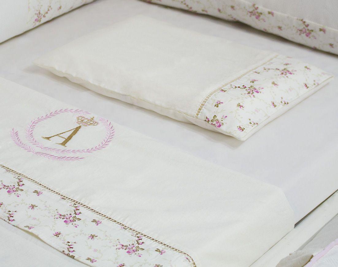 Kit Berço Personalizado Nervura Aline 11 peças - Floral Rosa
