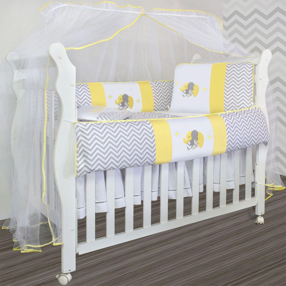 357eb57d8e Kit Berço Baby 9 peças - Elefante Chevron Amarelo - Laura Baby