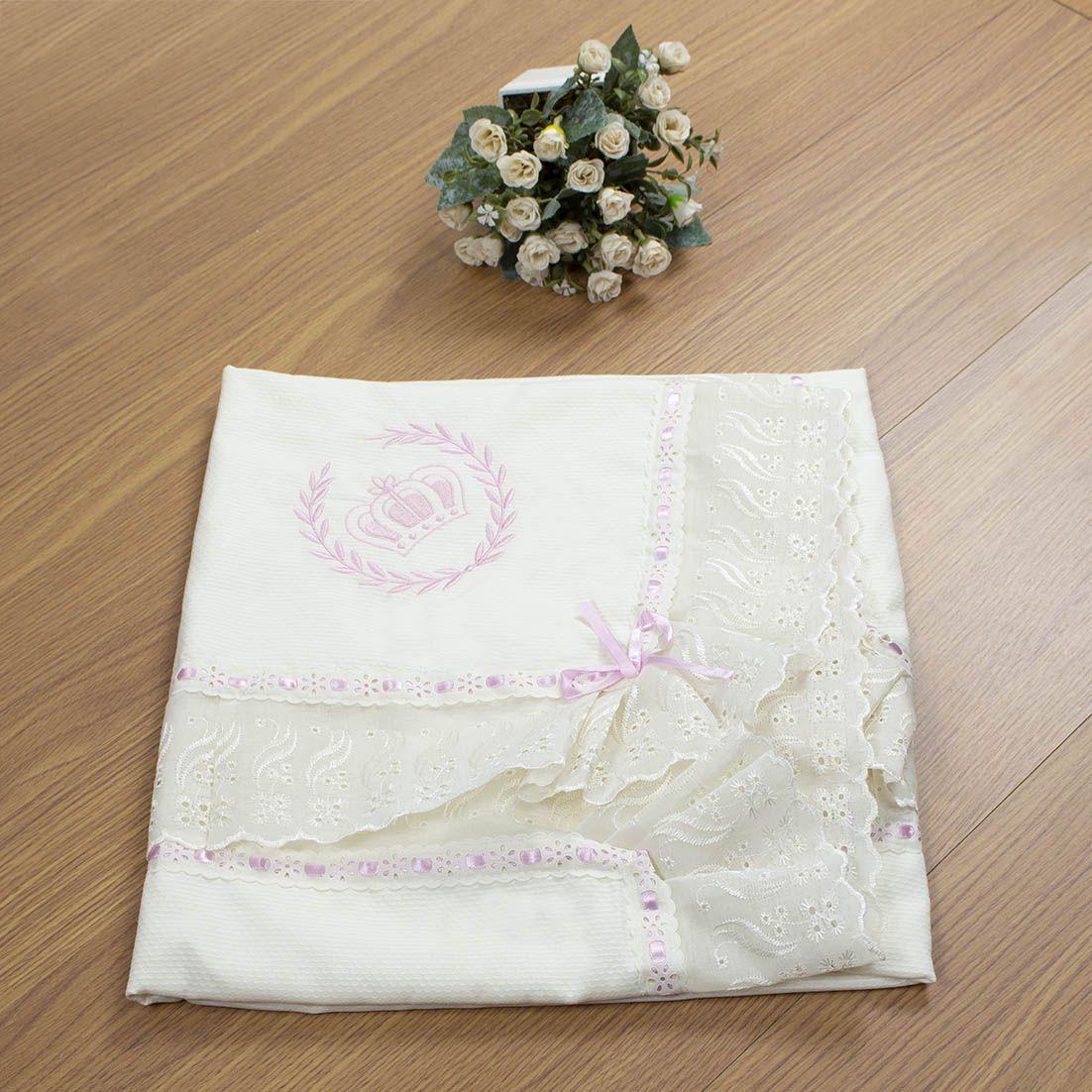 Manta de Piquet Ursa Realeza Floral 100% Algodão com Lasie