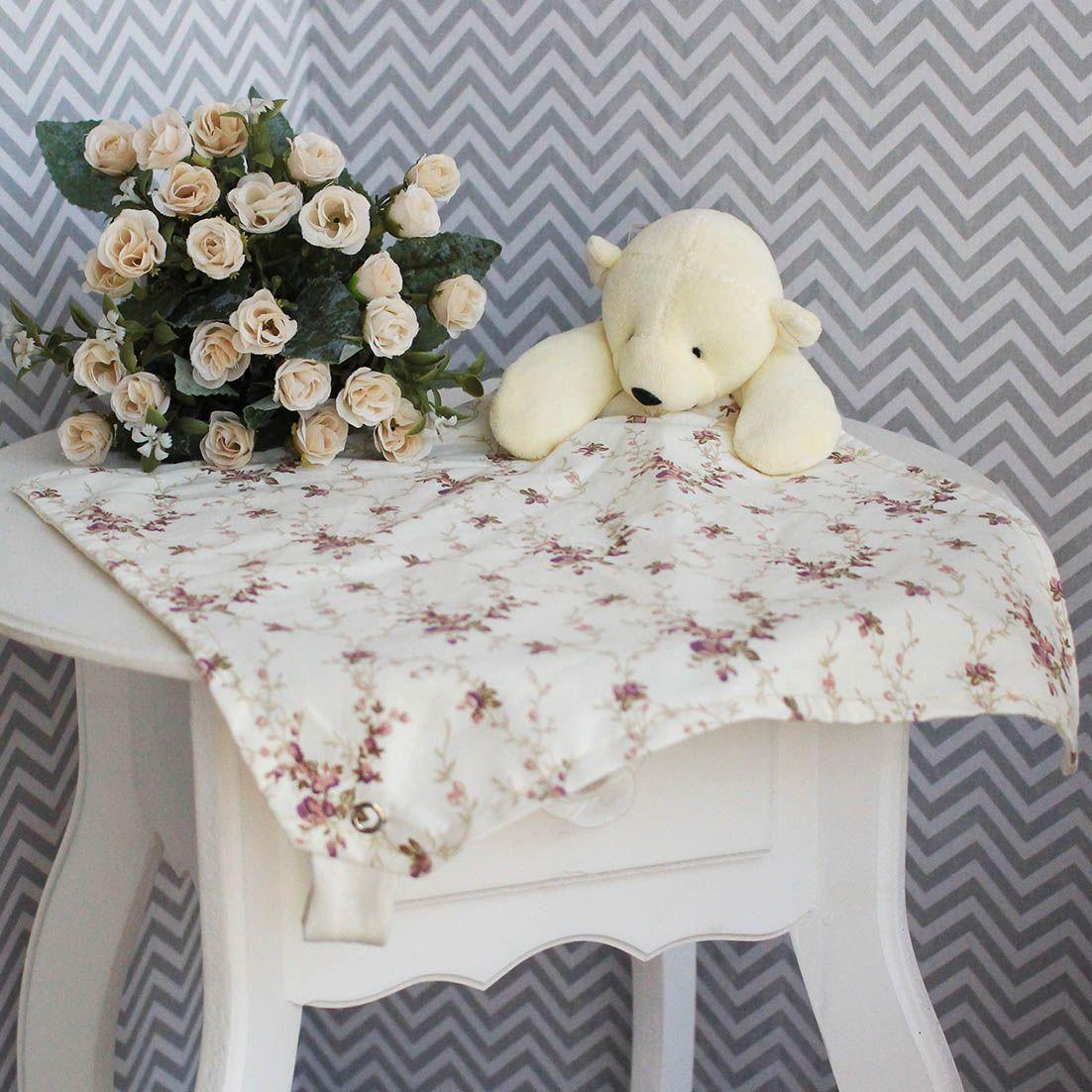 Naninha c/ Porta Chupeta - Ursa Floral Ferrugem