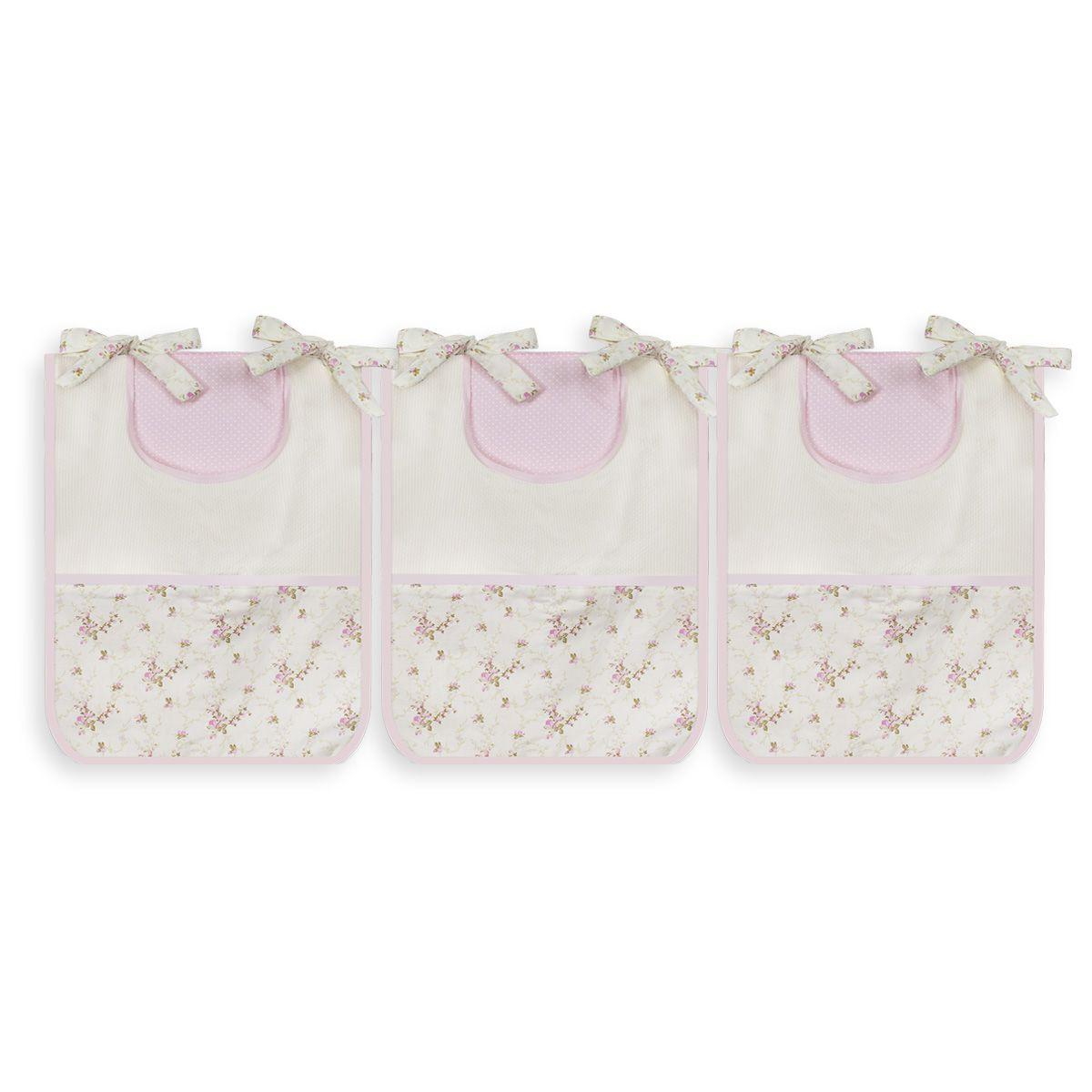 Porta Trecos 3 peças - Floral Rosa