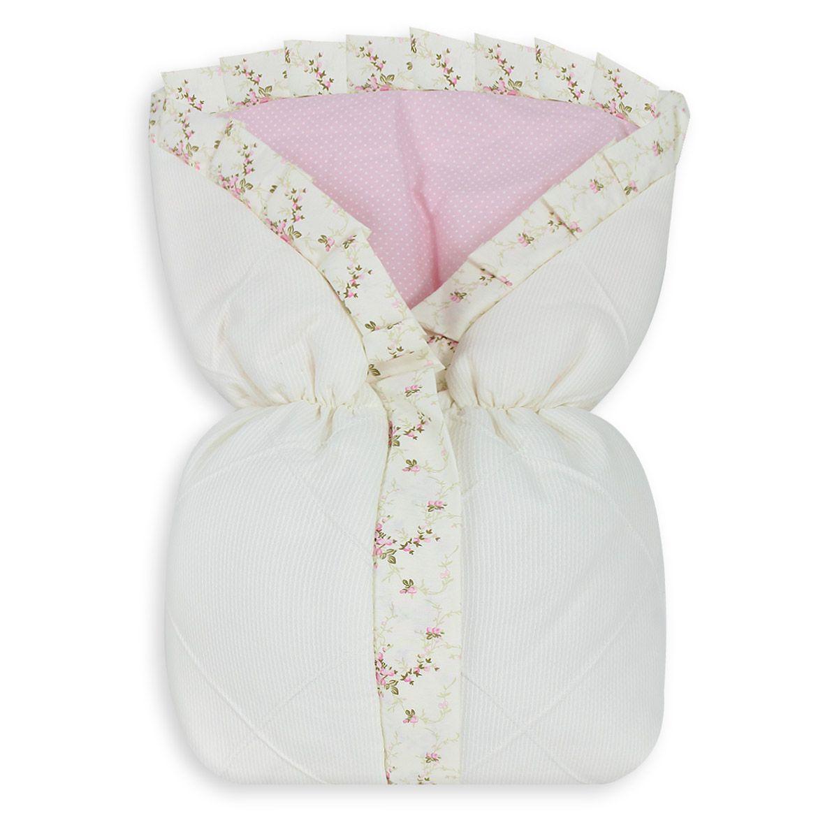 Saco de Bebê 100% Alg. - Nervura Floral Rosa