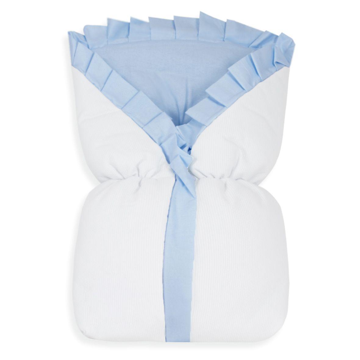 Saco de Bebê 100% Alg. - Azul com Branco