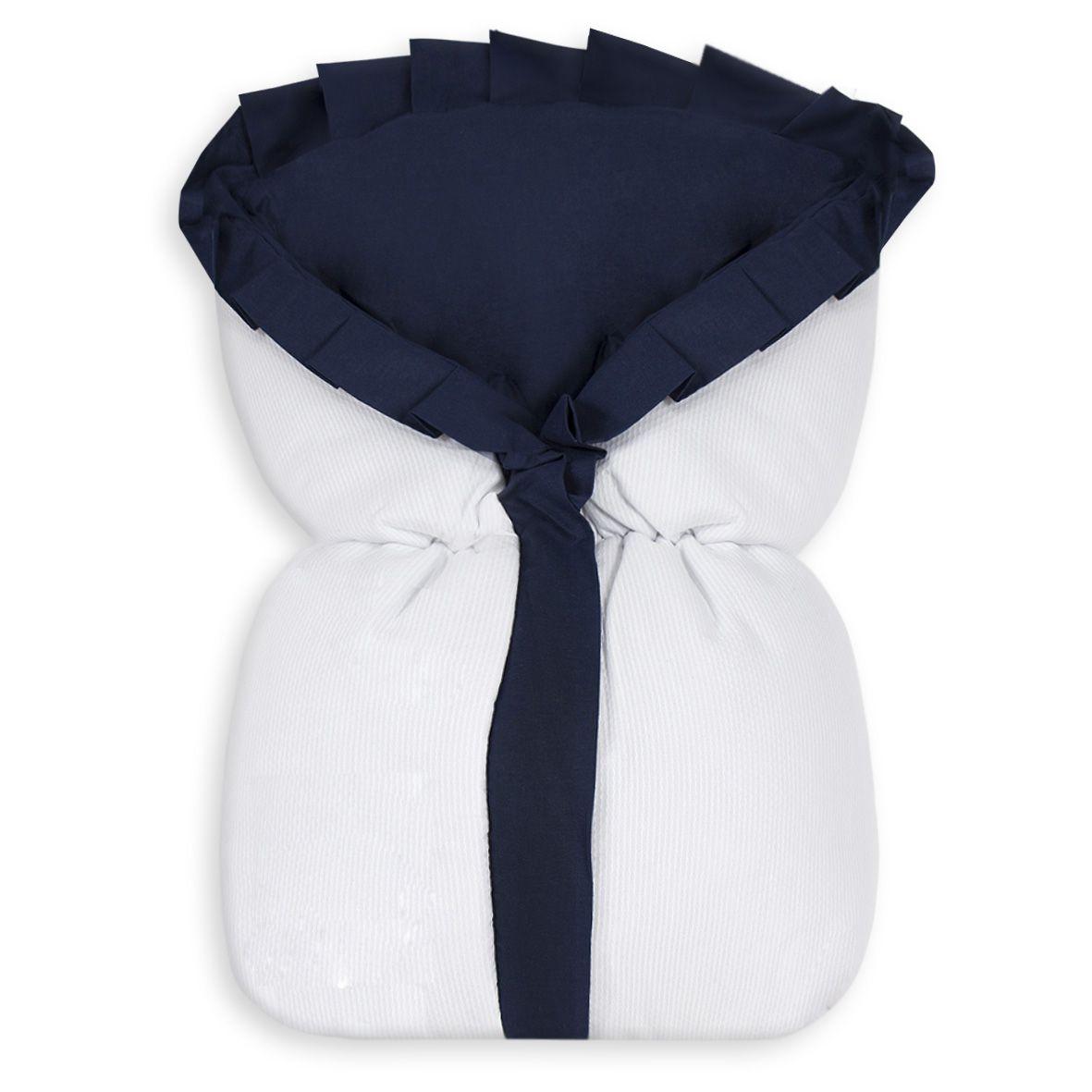 Saco de Bebê 100% Alg. - Branco com Babado Marinho