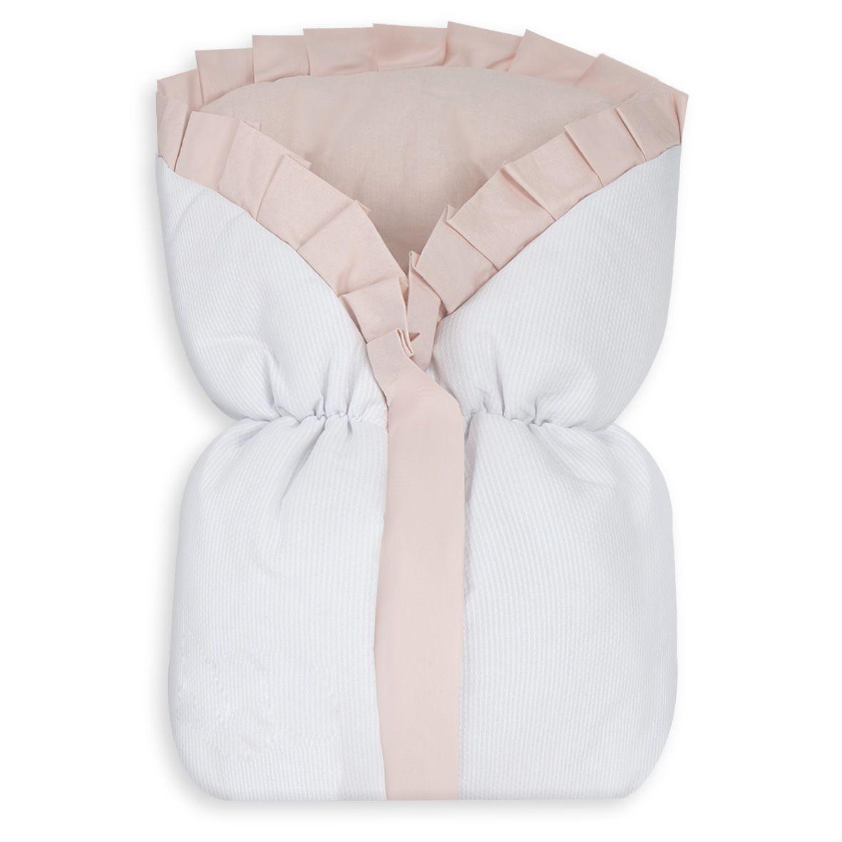Saco de Bebê 100% Alg. - Rosa com Branco