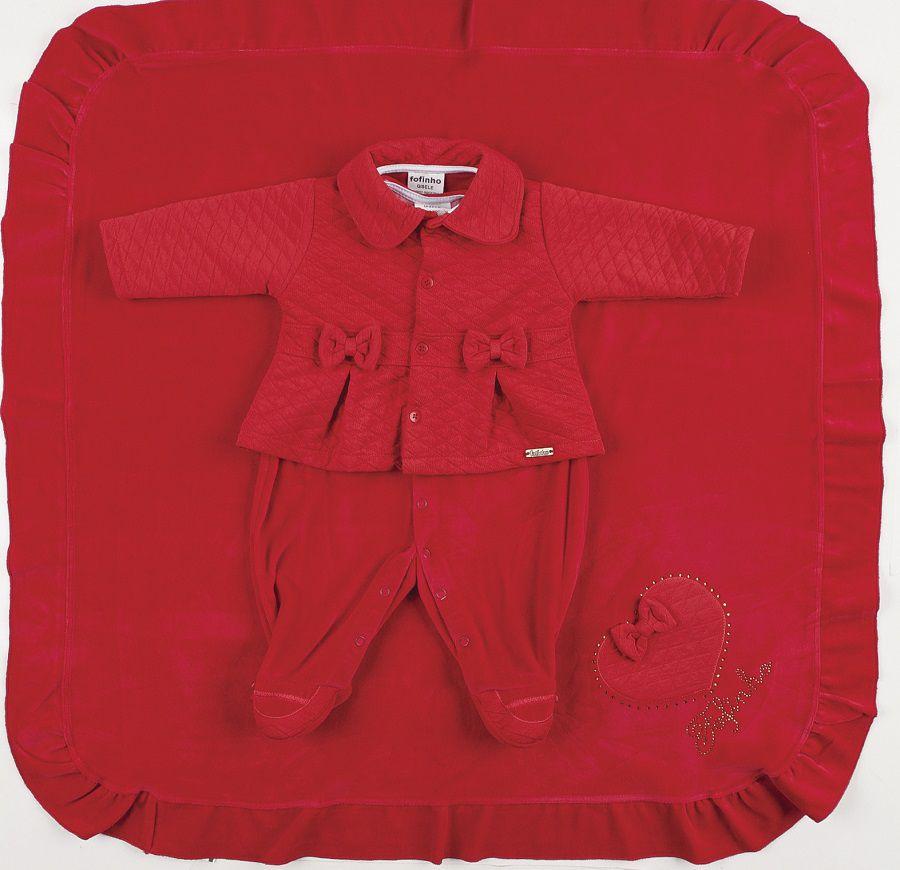 Saída de Maternidade Casaco Canelado Vermelho