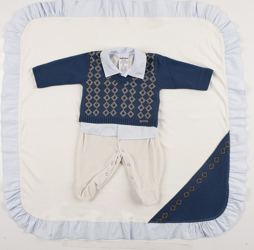 Saída de Maternidade de Linho com Losango e Plush  Azul Marinho