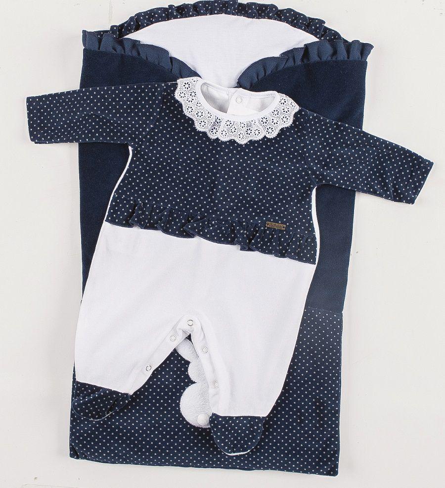 Saída de Maternidade Poá com Saco de Bebê Marinho