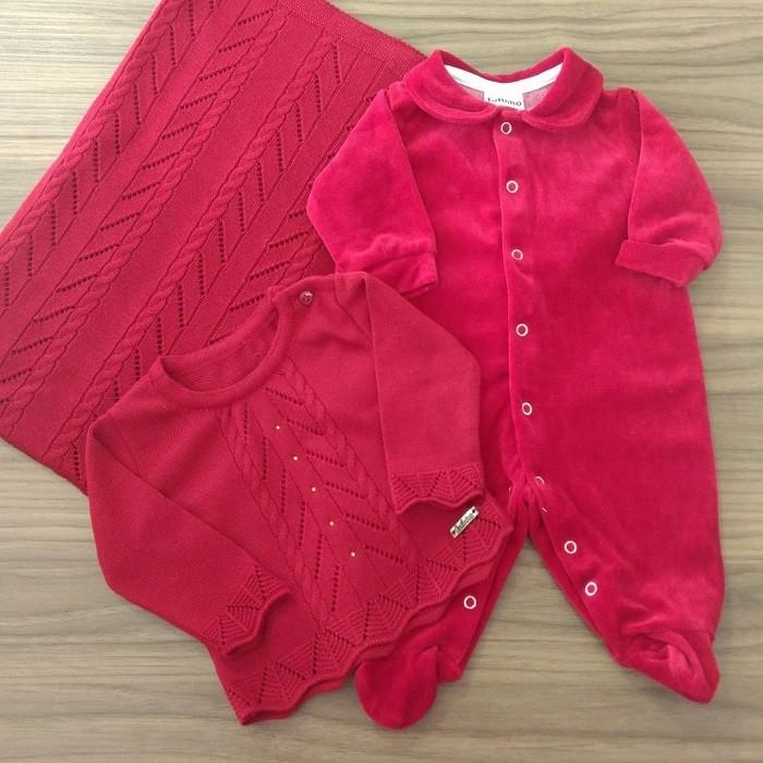 Saída Maternidade Plush Vermelho