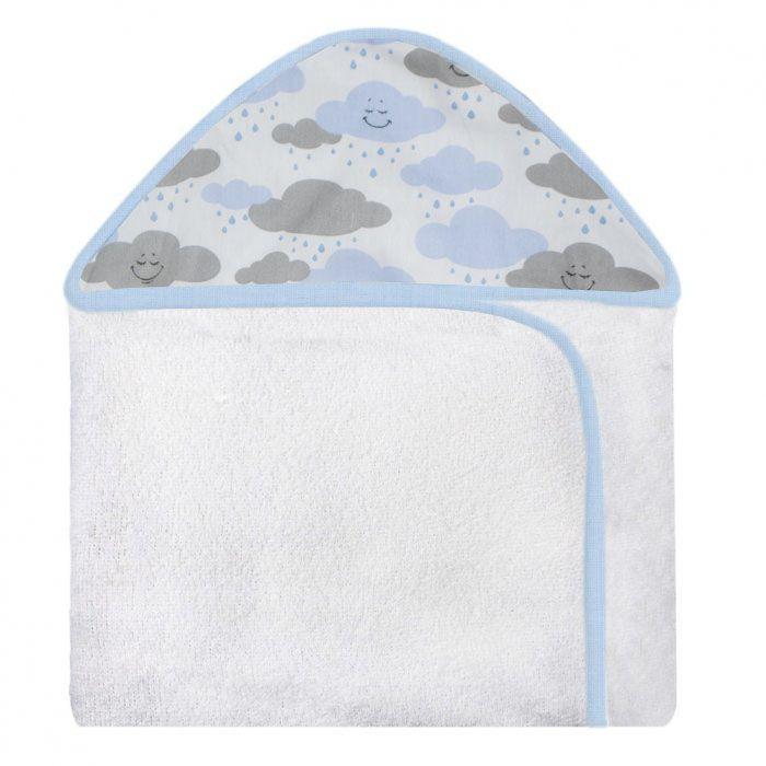 Toalha c/ Capuz Estampada - Chuva de Benção Azul