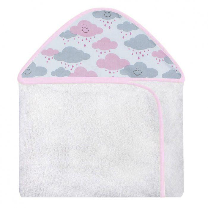 Toalha c/ Capuz Estampada - Chuva de Benção Rosa