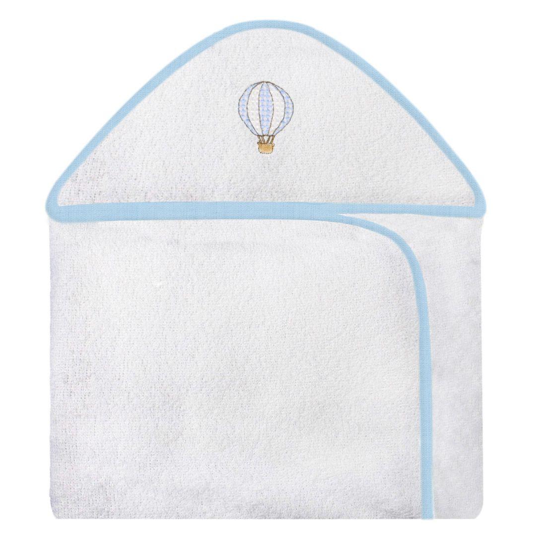 Toalha de Banho c/ Capuz Bordado -  Balão Azul