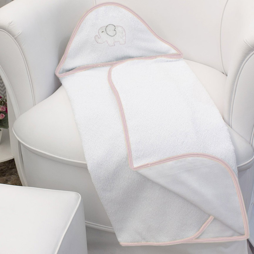 Toalha de Banho c/ Capuz Bordado - Elefante Chevron Rosa