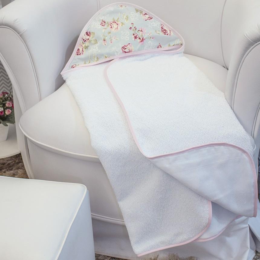 Toalha c/ Capuz Estampada - Ursa Realeza Floral