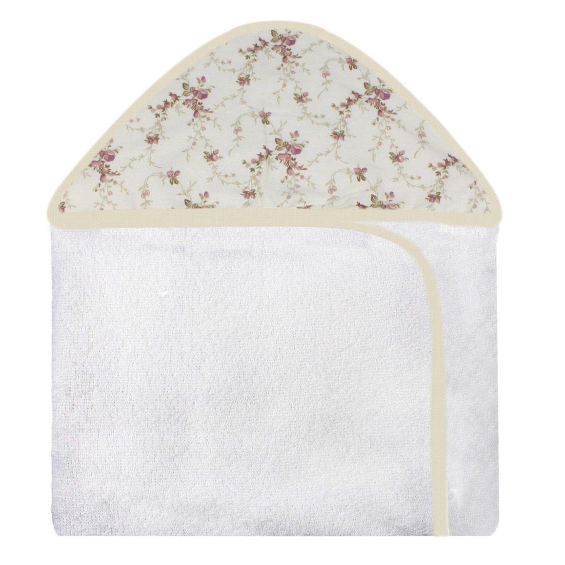 Toalha c/ Capuz Estampada - Floral Ferrugem