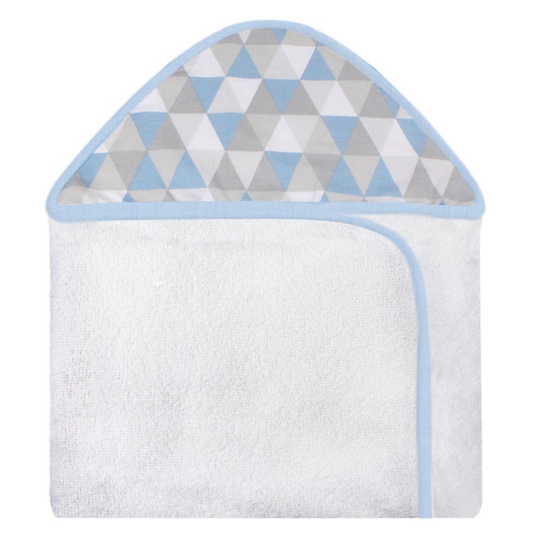 Toalha de Banho c/ Capuz Estampado - Losango Azul