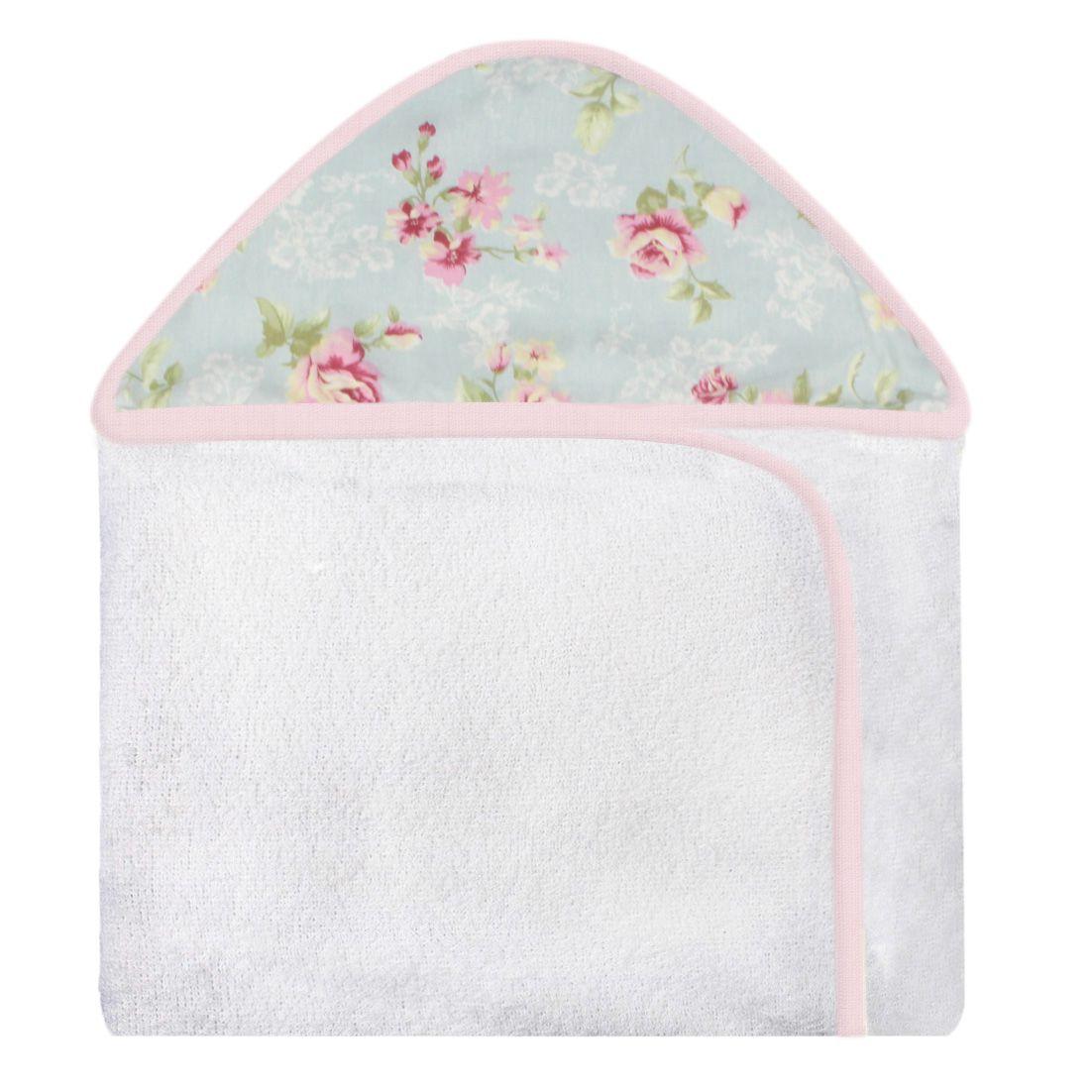Toalha de Banho c/ Capuz Estampado - Ursa Realeza Floral