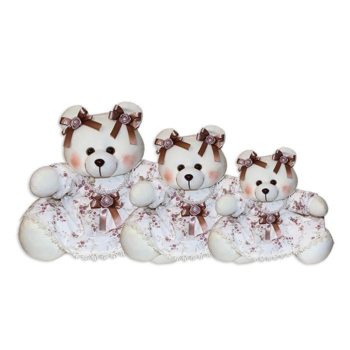 Trio de Ursinhas - Floral Ferrugem