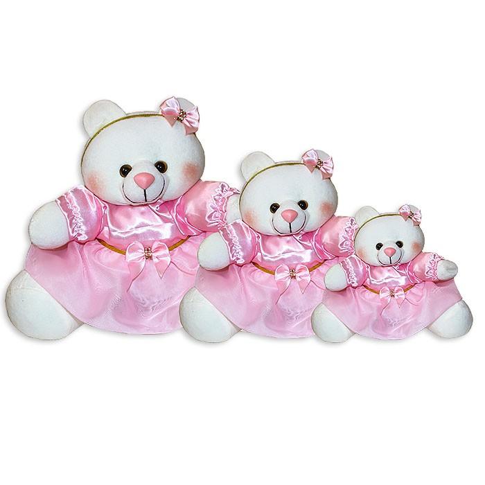 Trio de Ursinhas - Laço Rosa