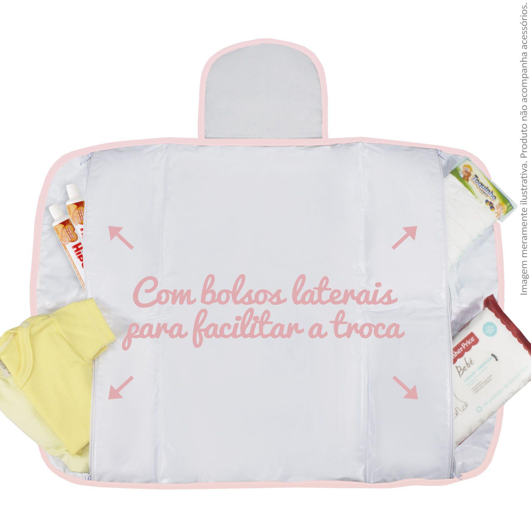 Trocador Portátil c/ Bolsos - Floral Rosa
