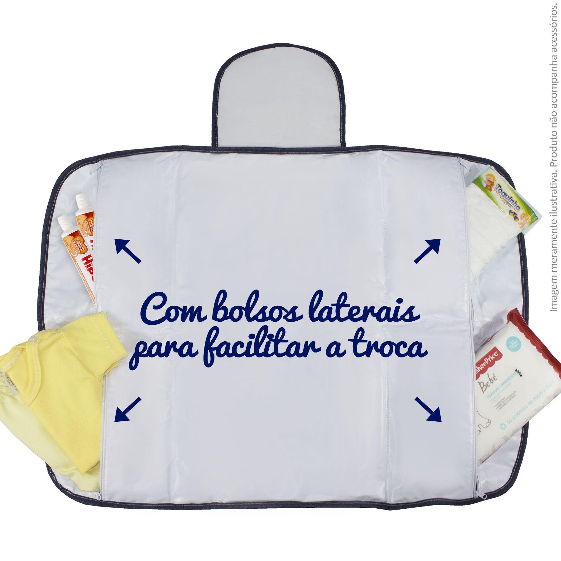 Trocador Portátil c/ Bolsos - Losango Marinho