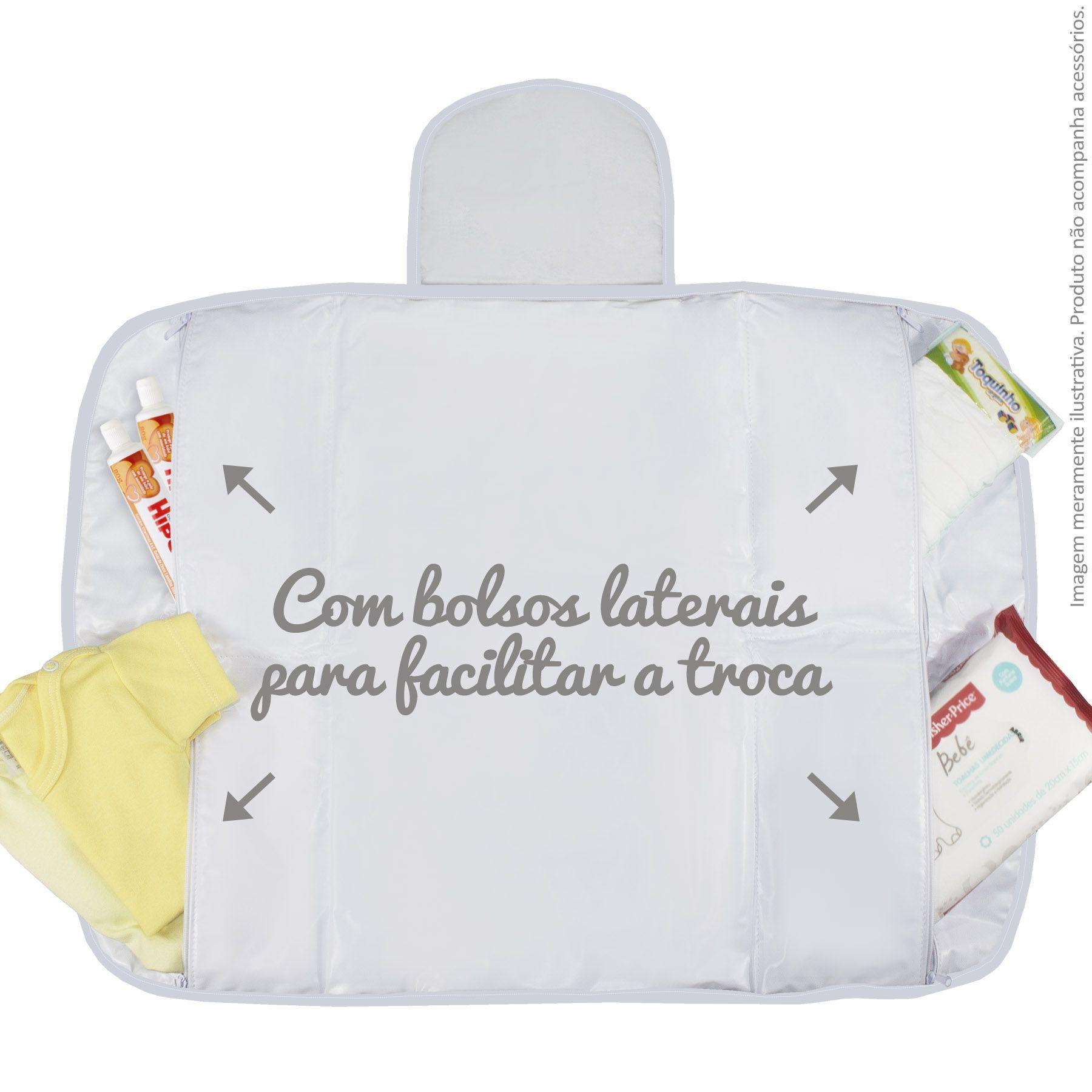 Trocador Portátil c/ Bolsos - Piquet Branco