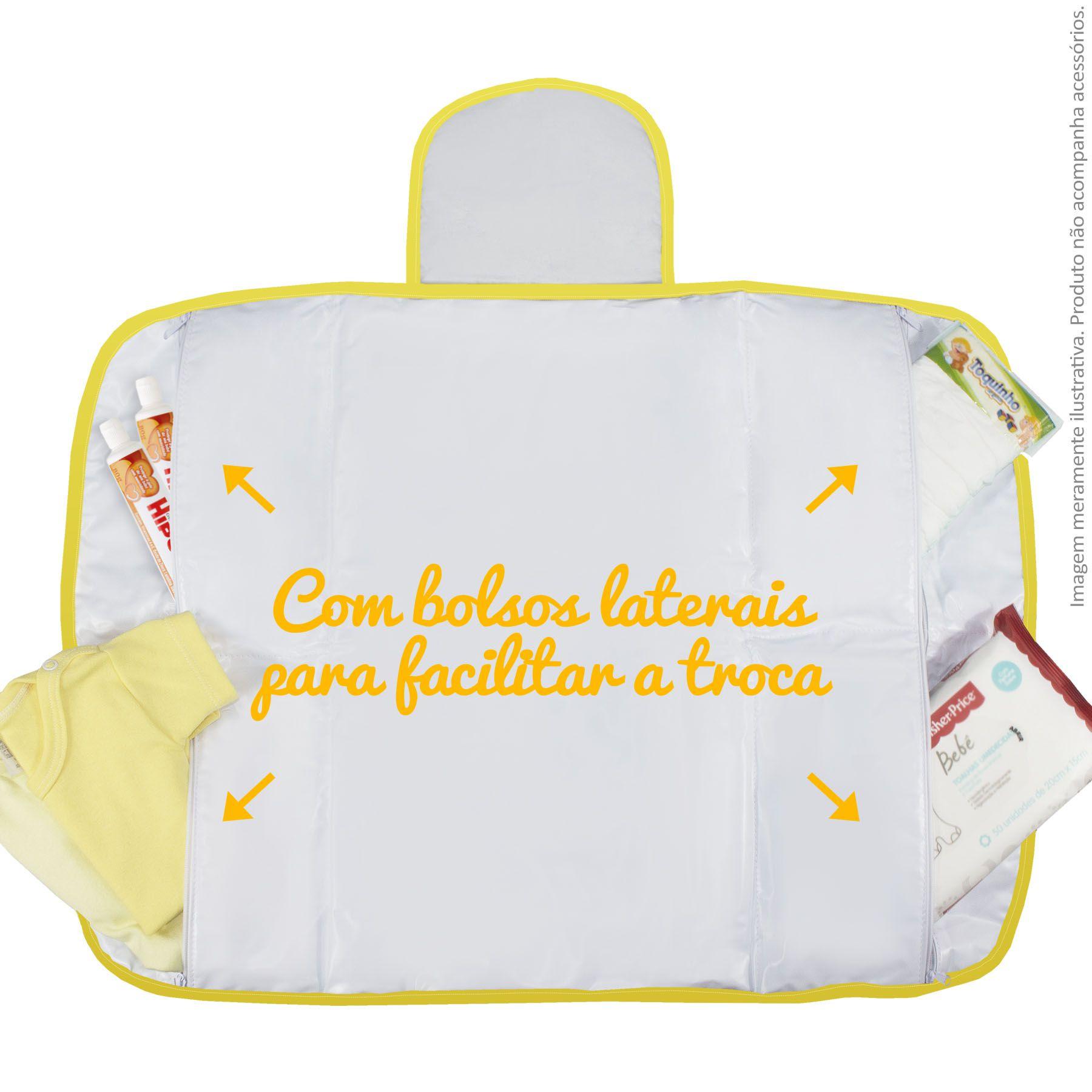 Trocador Portátil c/ Bolsos - Safari Amarelo