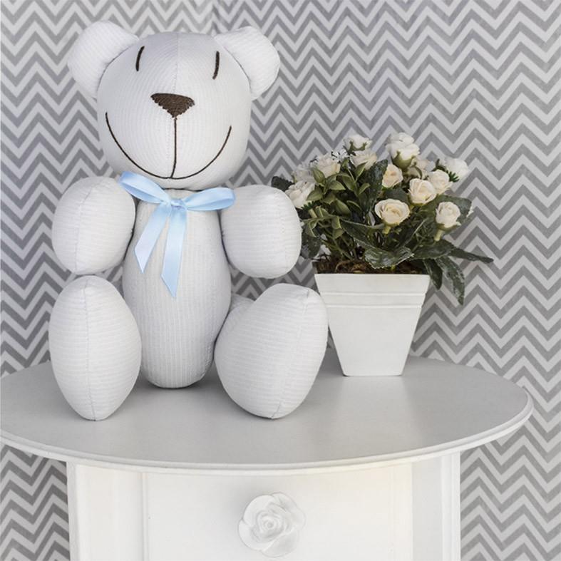 Ursinho - Piquet Branco com Laço Azul