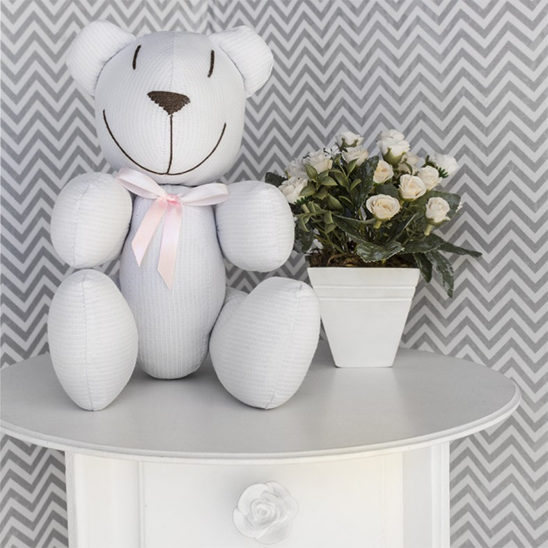 Ursinho  - Piquet Branco com Laço Rosa