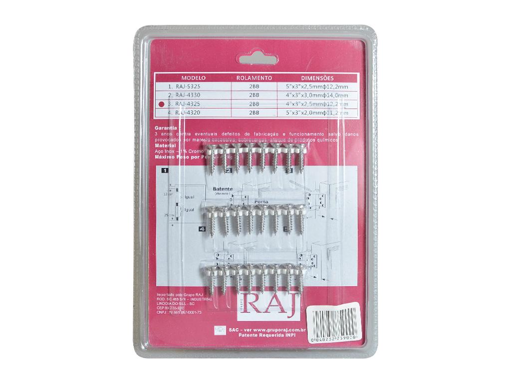 Dobradiças Inox com Abas Embutidas - Kit com 3 unidades - RAJ