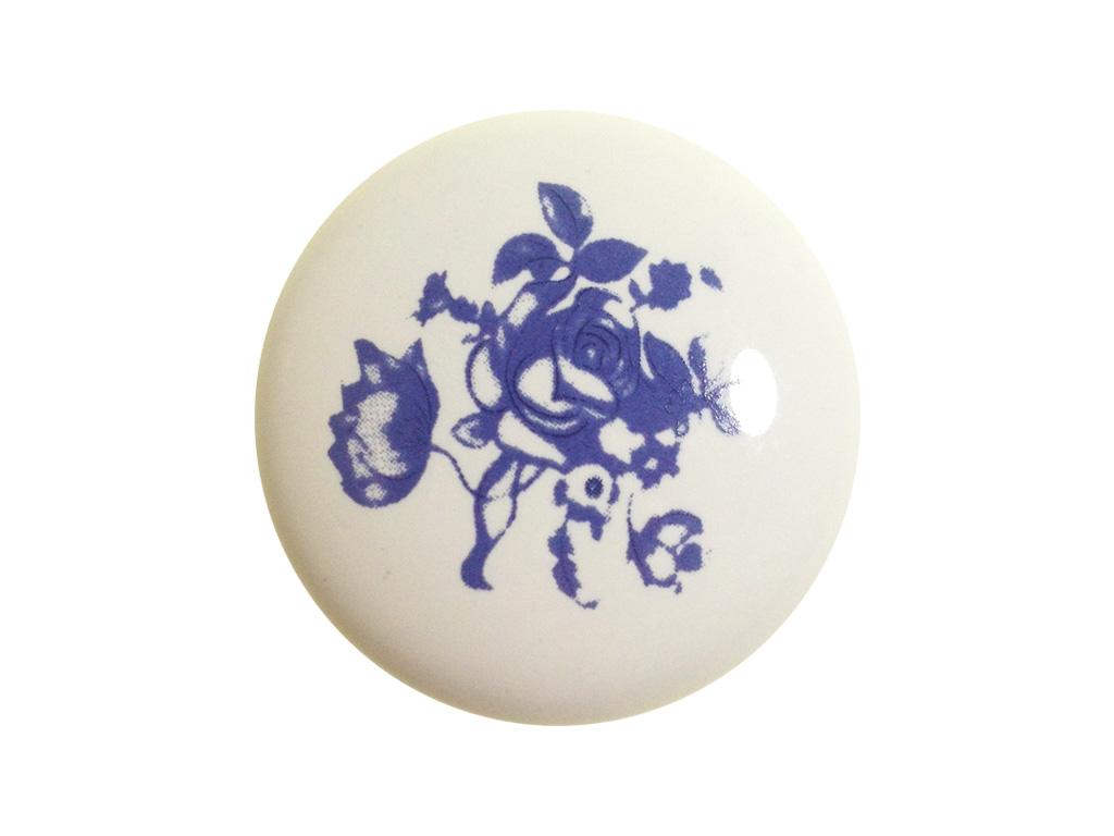 Puxador Estampa Azul Flor 37mm