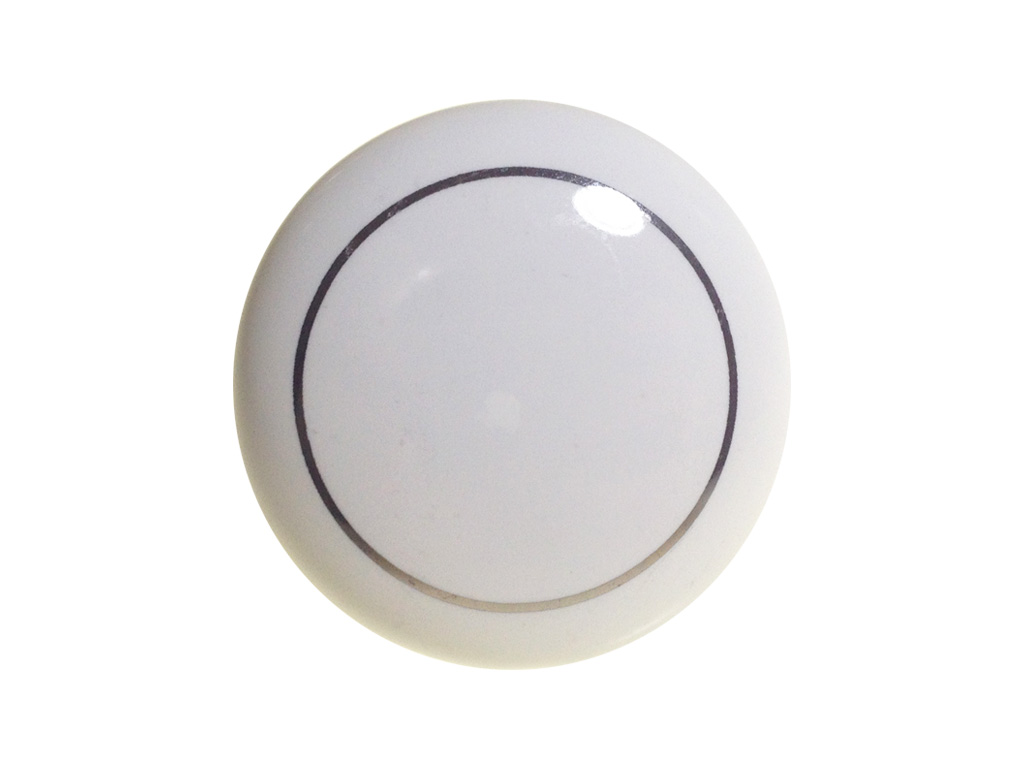 Puxador Branco com Filete Prata 37mm