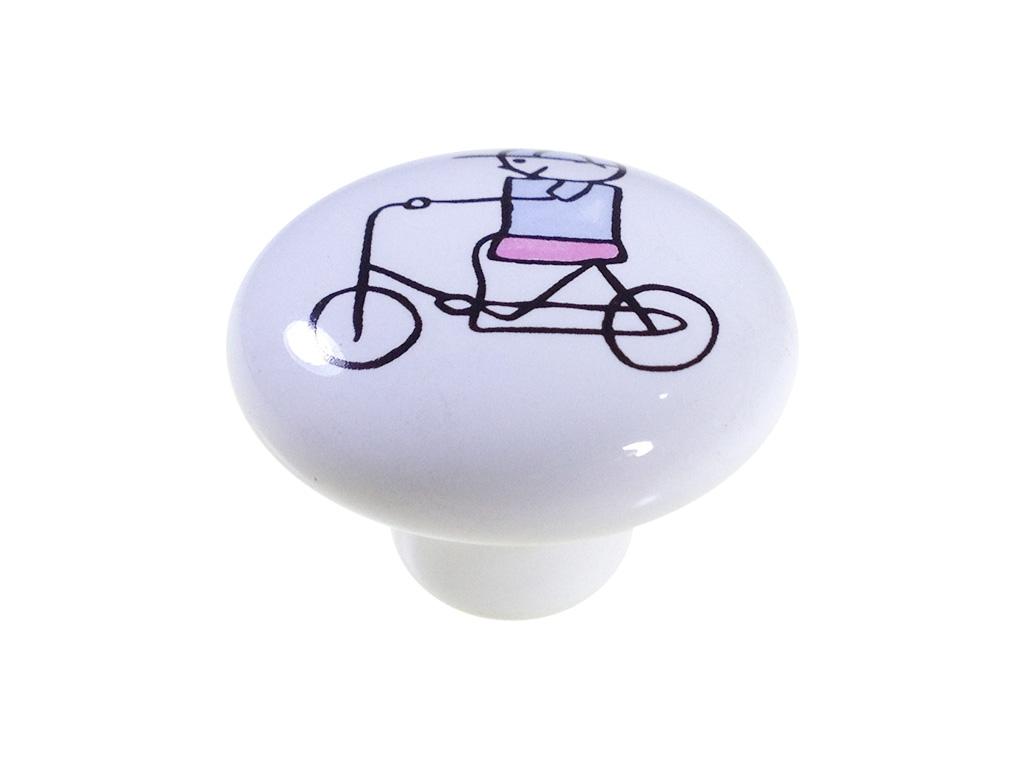 Puxador Menino Bicicleta - Cerâmica A 053 - ITALY LINE