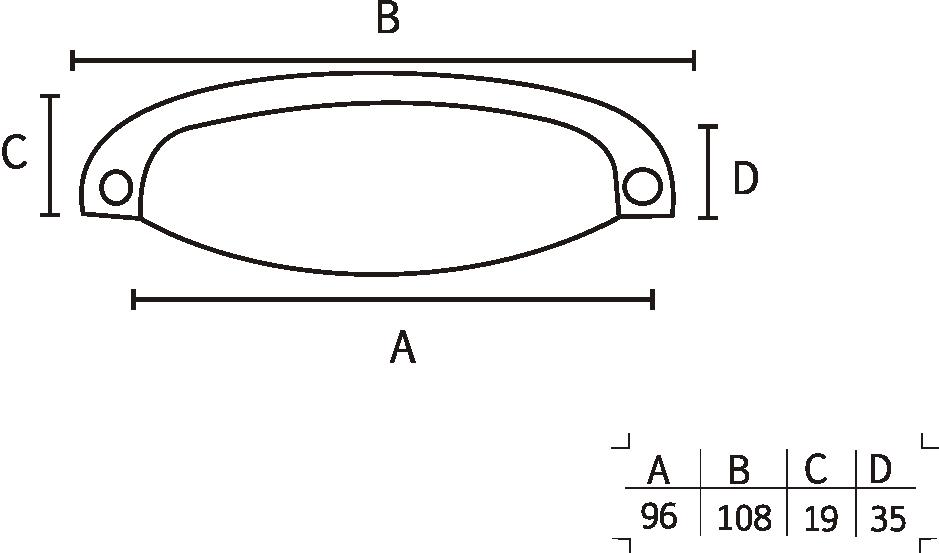 Puxador Colonial 115 Cromado 96mm - ITALY LINE