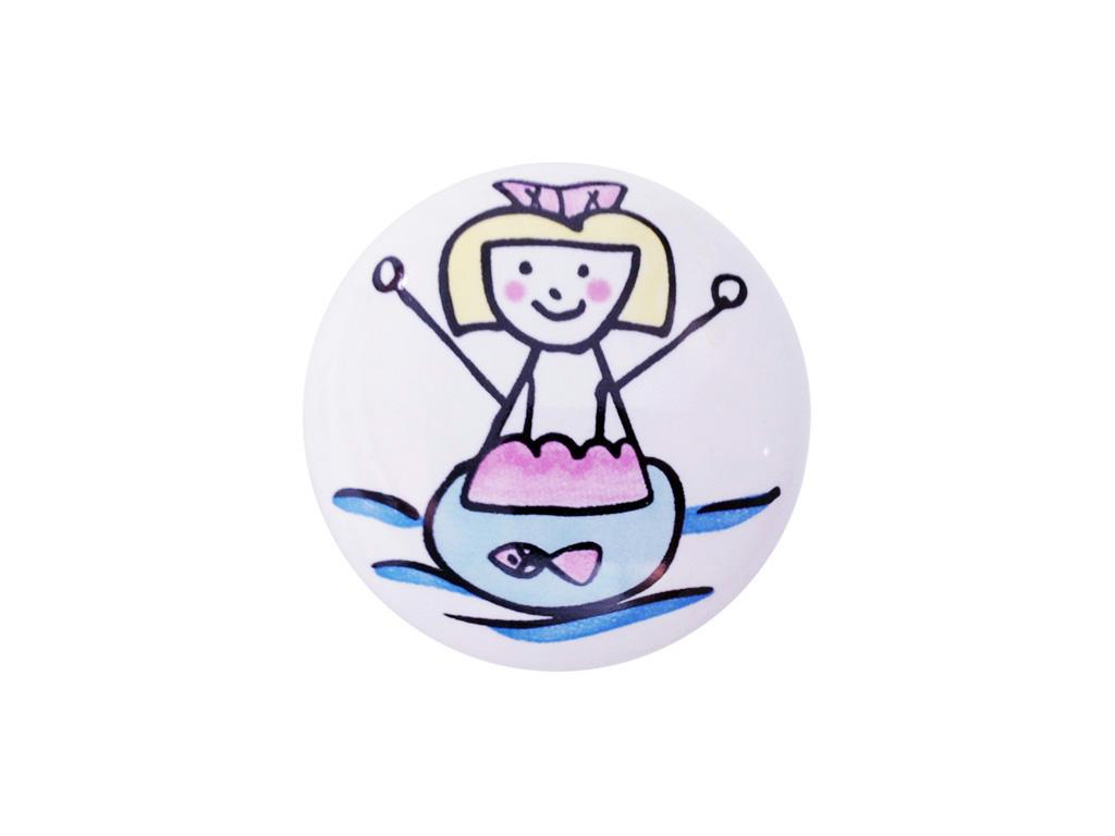Puxador Menina Nadando - Cerâmica 7045 - ITALY LINE