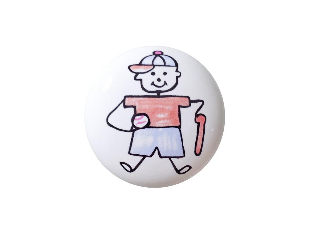 Puxador Menino Baseball - Cerâmica 7055 - ITALY LINE