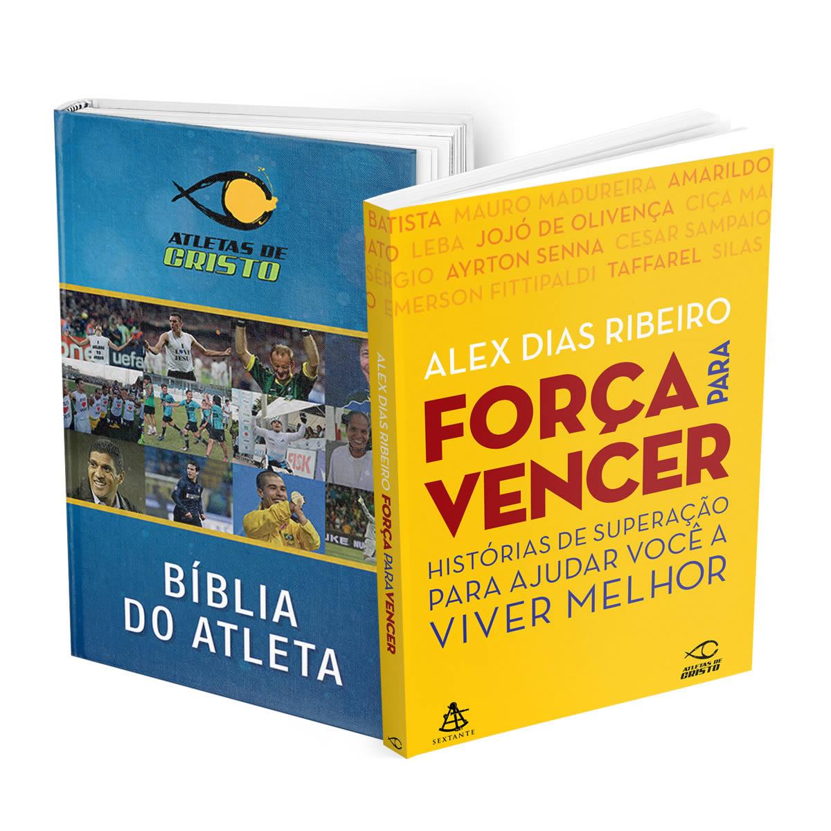 BÍBLIA ATLETAS DE CRISTO + LIVRO FORÇA PARA VENCER - FRETE GRÁTIS!