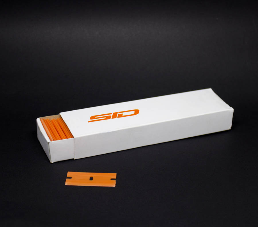 Lâmina plástica dupla para raspador de vinil (caixa com 100 un)