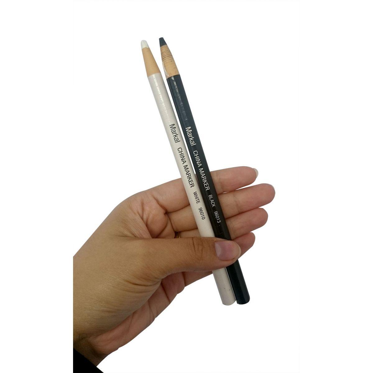 Par de Lápis Marcador de Superfícies - Branco e Preto