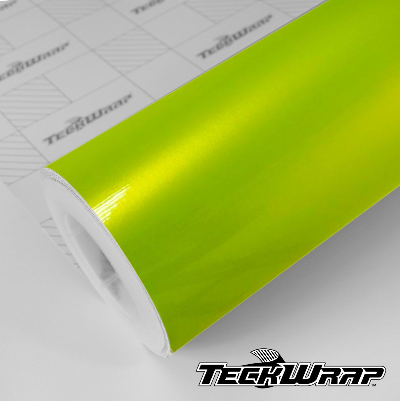 RB07 Gloss Metallic Acid Lime - Escolha entre metro linear ou rolo fechado