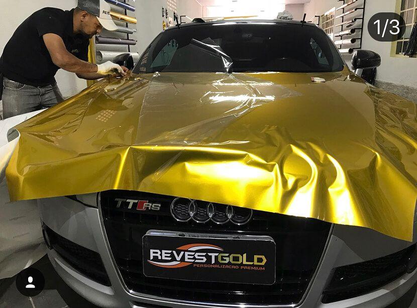 GAL08 Gloss Aluminium Amber Gold - Escolha entre metro linear ou rolo fechado