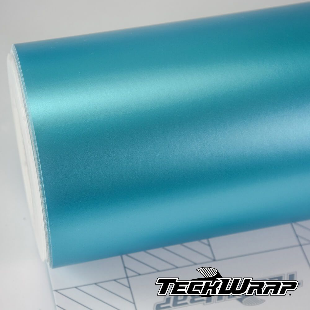 VCH413 Satin Chrome Turquoise Blue - Escolha entre metro linear ou rolo fechado