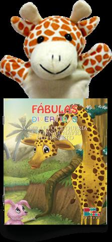 Livro Fantoche - Fábulas Divertidas -  A Girafa Que Queria se Tornar Navio do Deserto  - Gutana Brinquedos