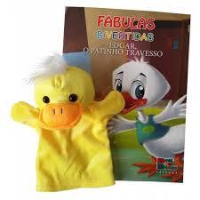 Livro Fantoche - Fábulas  Divertidas - Edgar, o Patinho Travesso  - Gutana Brinquedos