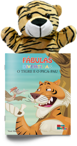 Livro Fantoche - Fábulas  Divertidas - O tigre e o Pica Pau