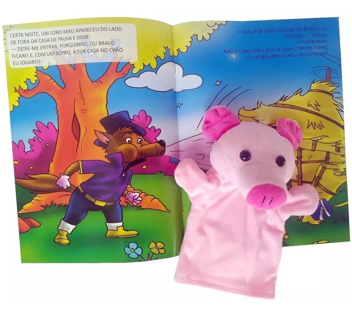 Livro Fantoche - Fábulas  Divertidas - Os Três Porquinhos  - Gutana Brinquedos